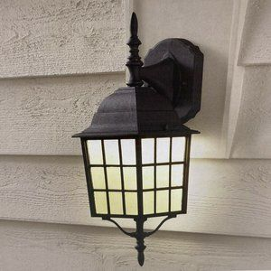 Hampton Bay Black Outdoor LED Wall Lantern Sconce